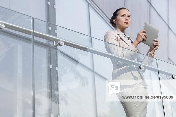 Geschäftsfrau  Computer  Schönheit  halten  Büro  jung  Geländer