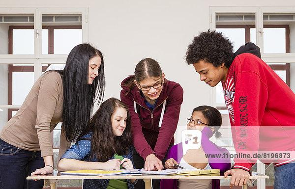 Österreich  Gruppe von Schülern  die gemeinsam lernen