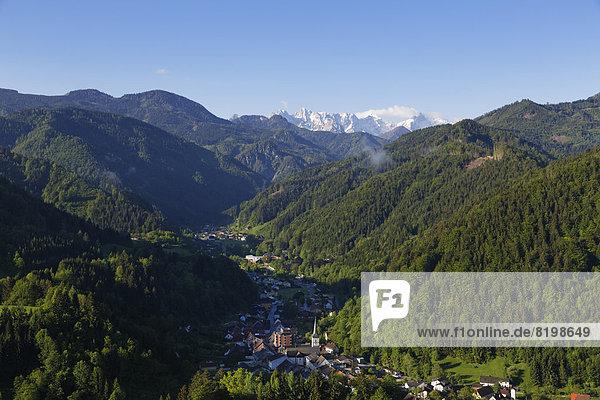 Austria  Carinthia  View of Bad Eisenkappel village near mountains