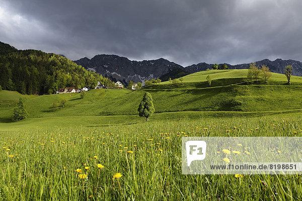 Österreich  Kärnten  Blick auf das Dorf bei Karawanken