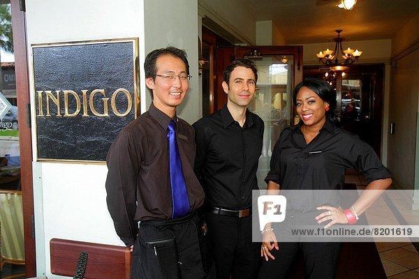 Frau  Mann  Angestellter  Restaurant  schwarz  kaufen  Business  Kollege  Florida  Kellner