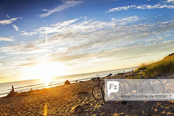 Strand  Sonnenuntergang  parken  Fahrrad  Rad