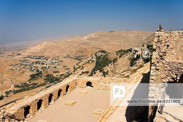 Fort walls  Crusader Kerak Fort  Kerak  Jordan  Middle East.