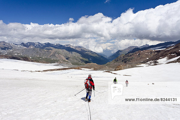 Bergsteiger  Seilschaft  Sicherung  auf dem Zufallferner Gletscher im Martelltale