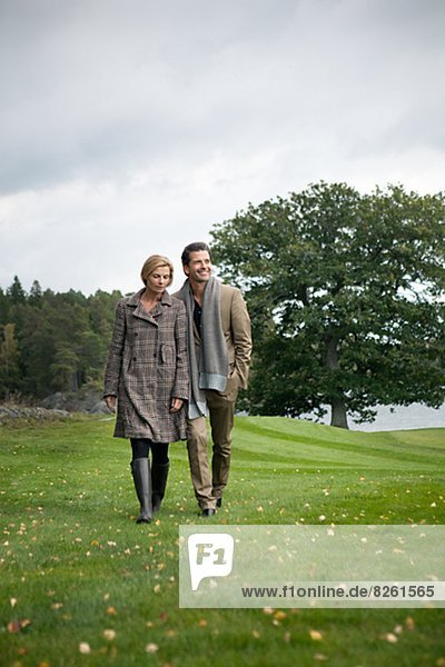 Mature couple together at walk