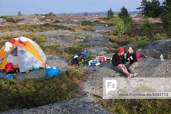 Couple at camping