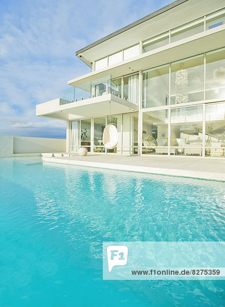 Swimming pool outside modern house
