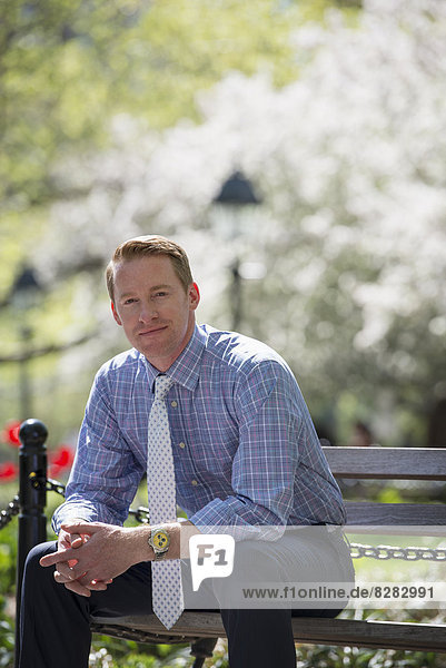 A Businessman In A Shirt With White Tie  Sitting On A Park Bench Under The Shade Of A Tree With Blossom.