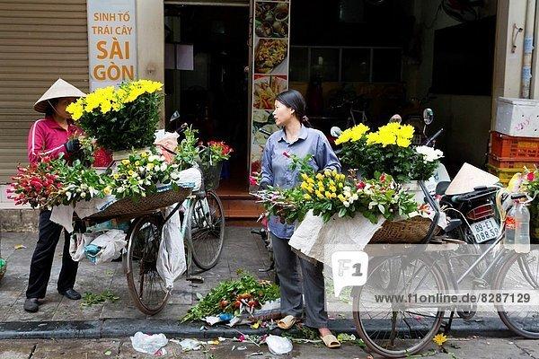 Hanoi  Hauptstadt  Blume  Straße  Verkäufer  Vietnam