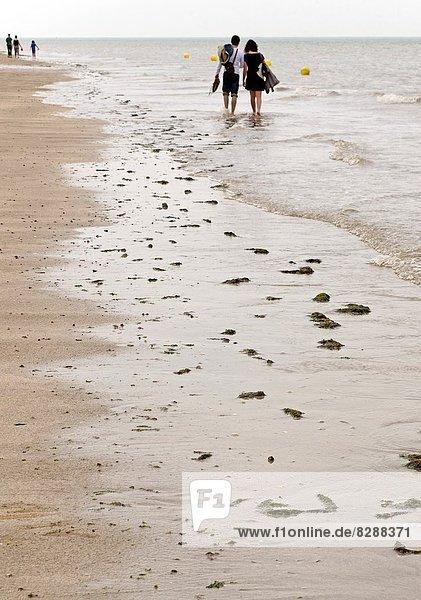 Zusammenhalt  Frankreich  gehen  Küste  jung  Calvados  Atlantischer Ozean  Atlantik  Honfleur  Normandie  Sandstrand