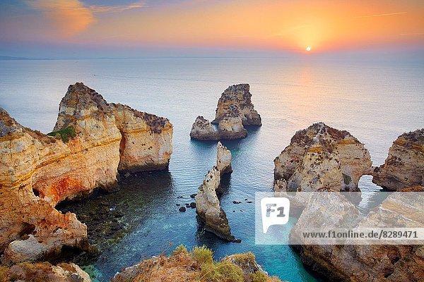 nahe  Küste  Sonnenaufgang  Algarve  Lagos  Portugal