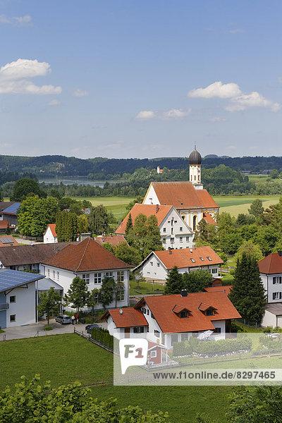 Germany,  Bavaria,  Pfaffenwinkel,  View of village Kinsau