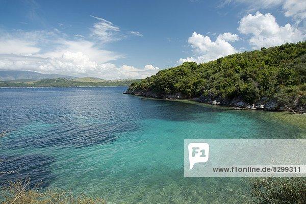 nahe Europa klein Küste Stadt Neuengland Korfu Bucht Griechenland Griechische Inseln Ionische Inseln