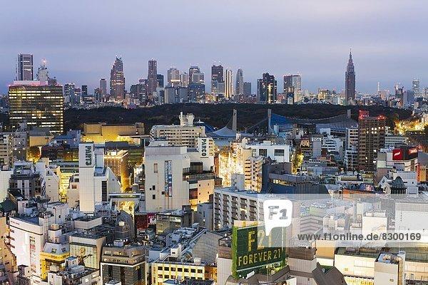Skyline  Skylines  sehen  Tokyo  Hauptstadt  Ansicht  Erhöhte Ansicht  Aufsicht  heben  Shibuya  Asien  Honshu  Japan  Shinjuku