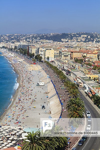 Baie des Anges and Promenade Anglais  Nice  Alpes Maritimes  Provence  Cote d'Azur  French Riviera  France  Mediterranean  Europe