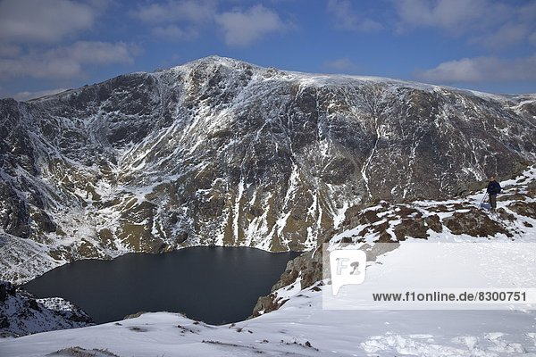 Europa  Winter  Berggipfel  Gipfel  Spitze  Spitzen  Großbritannien  Gwynedd  Sonne  Wales