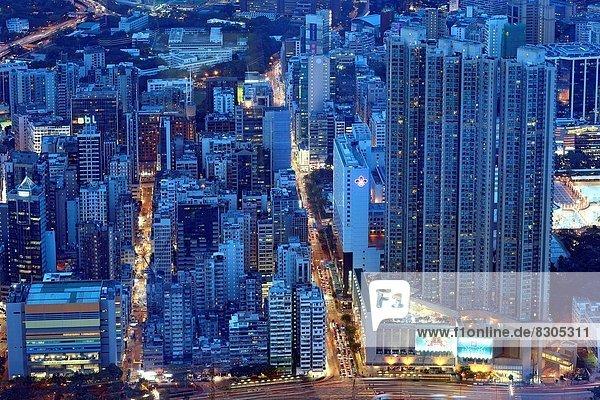 hoch oben über Gebäude aufwärts Ostasien Nachbarschaft China Hongkong