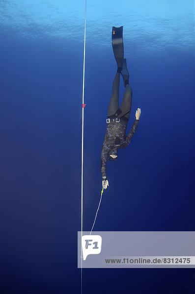Freitaucher taucht entlang eines Seils