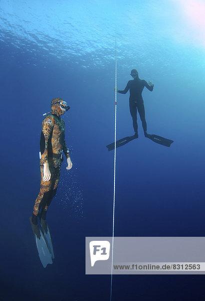 Freedivers tauchen entlang eines Seils