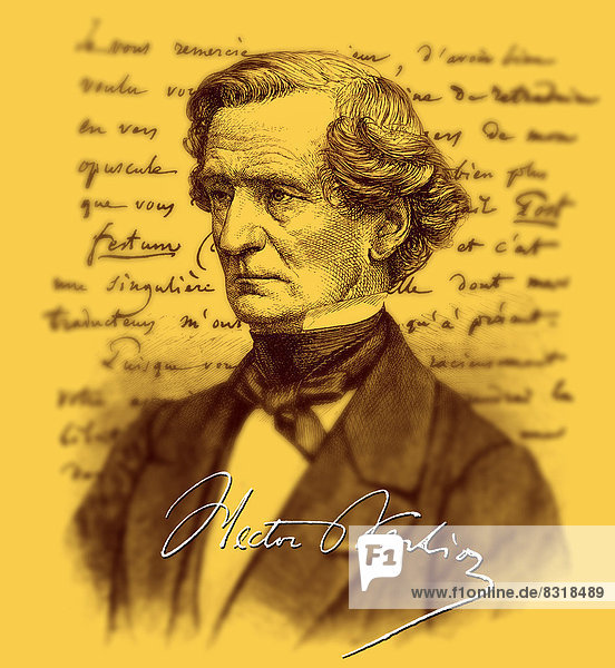 Historical manuscript with the portrait of Louis Hector Berlioz  1803 - 1869  French composer and music critic