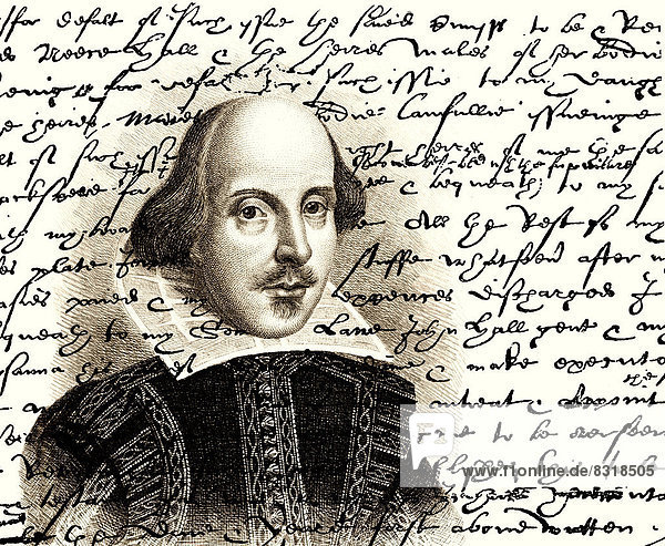 Portrait of William Shakespeare  1564 - 1616  English dramatist  poet and actor