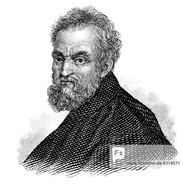 Michelangelo  Michelangelo Buonarroti or Michelangelo di Lodovico Buonarotti Simoni  1475 - 1564  Italian painter  sculptor  architect and poet of the Italian High Renaissance