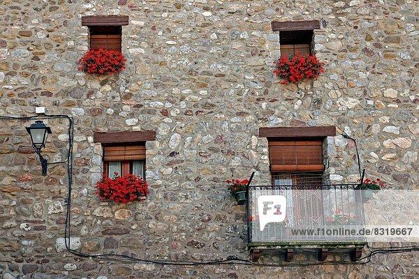 Gebäude Blumentopf Baga Katalonien Spanien