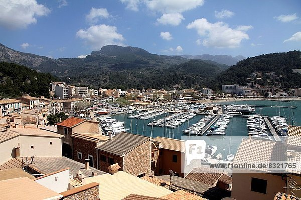 Marina Puerto de Soller Port of Mallorca with boats in Balearic island  Spain.