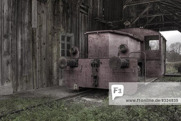 Ausrangierte Diesellok im Bayerischen Moor- und Torfmuseum