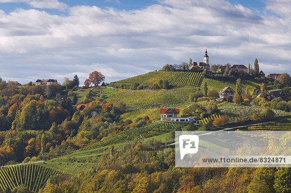 Townscape of Kitzeck im Sausal  in autumn