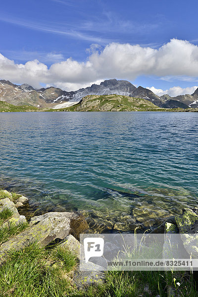 Grosser Schwarzsee lake or Lago Nero,  Schneeberger Weisse Mountain at the rear