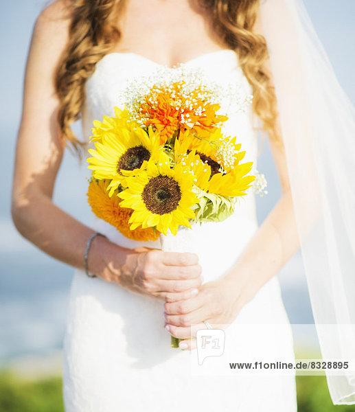 Anschnitt  Sonnenblume  helianthus annuus  Blumenstrauß  Strauß  Braut  halten  Mittelpunkt