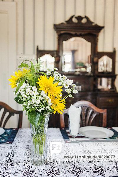 Blume am Tisch essen Zimmer Close-up Blumenvase Tisch