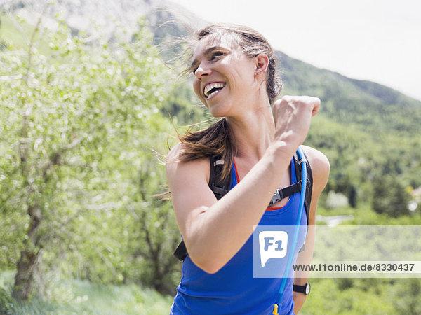 Portrait  Frau  rennen  Athlet