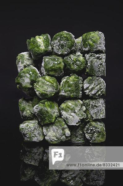 Deep frozen spinach  close up