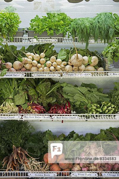 Ein Bauernstand mit Reihen von frisch gepflücktem Gemüse zum Verkauf.
