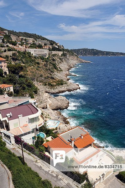 'Apartment buildings and luxury villas with view over the Mediterranean Sea  at ''Cap de Nice''  in Nice (06).'