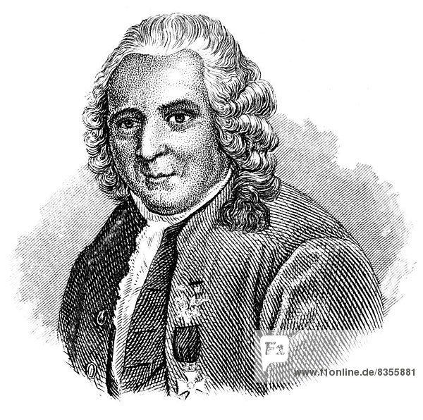 Portrait von Carl von Linné 1707 - 1778  schwedischer Botaniker  Arzt und Zoologe