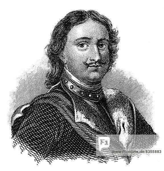Porträt von Peter dem Großen  1672 - 1725  Zar und erster Kaiser des Russischen Reiches