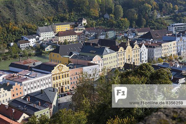 View over Burghausen  Burghausen  Upper Bavaria  Bavaria  Germany