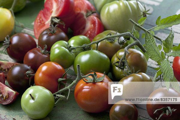 Tomatenarten (Solanum lycopersicum) auf grünem Holz  Studioaufnahme
