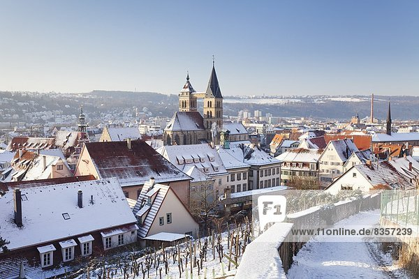 High angle view of the old town of Esslingen in winter  Baden Wurttemberg  Germany  Europe