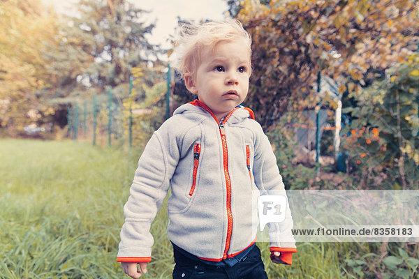 Baby boy exploring garden