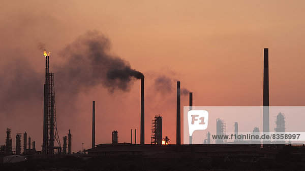 Curacao  Willemstad  Old oil refinery at dusk