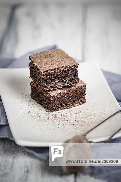 Brownies auf Teller