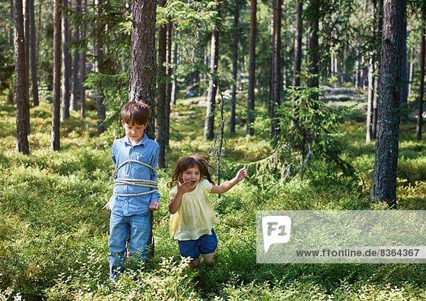 Mädchen bindet Bruder an Baum