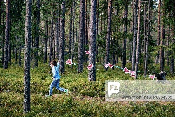 Junge rennt durch den Wald und zieht Fähnchen
