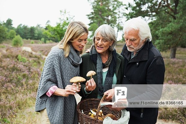 Mittlere erwachsene Frau mit älteren Eltern und Pilzkorb