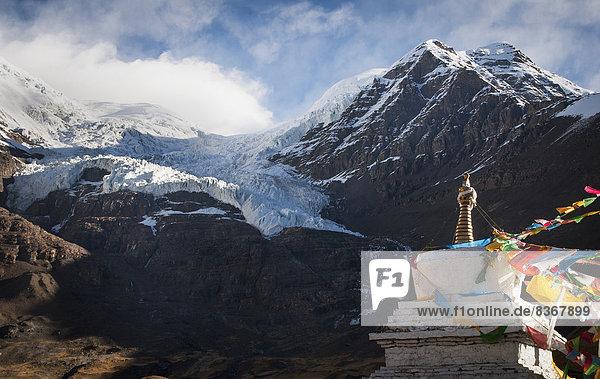 Anschnitt  Berg  Ansicht  Stupa  Tibet