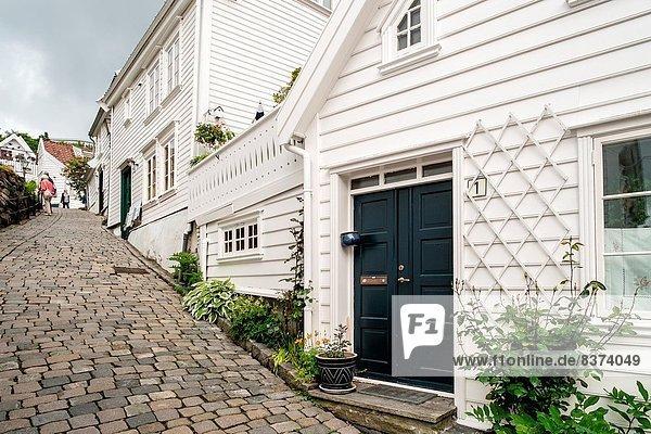 Kopfsteinpflaster Anschnitt führen Schönheit Straße Stadt Norwegen alt Stavanger